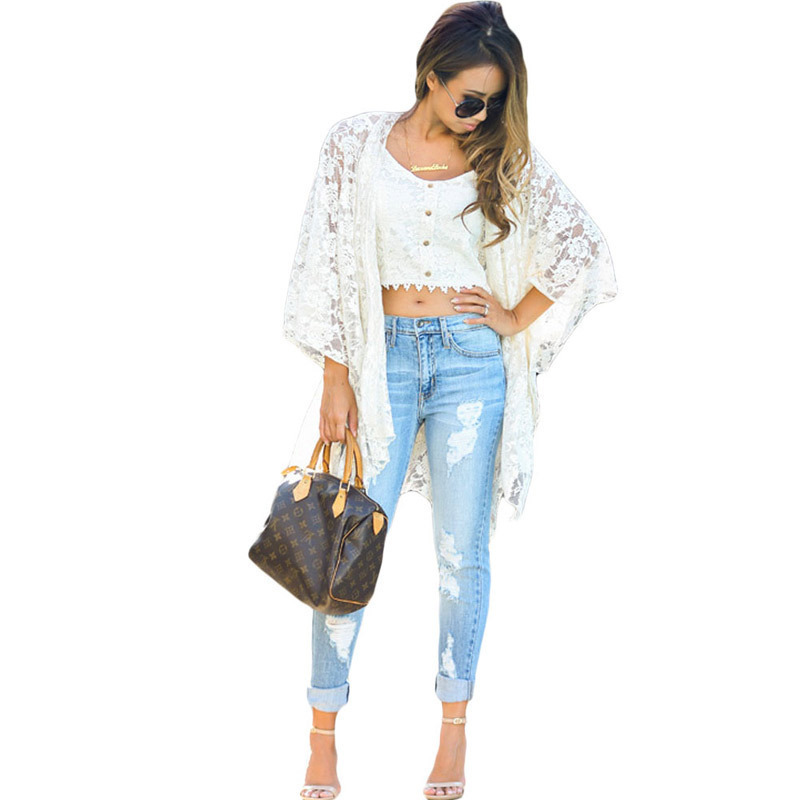 Pa Meng Europe And America Station Casual Holiday Chic White Delicacy Lace Cardigan Kimono Beach Skirt 42021