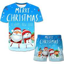 2021 on the new children round neck short sleeve Christmas pattern 3D printing pattern boys and girls casual fashion