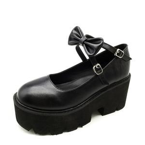 Image 3 - YMECHIC 2020 ニュークロスストラップボウタイ原宿パンクパーティーロリータメアリージェーン女性の靴ハイヒール黒プラットフォーム女性パンプス