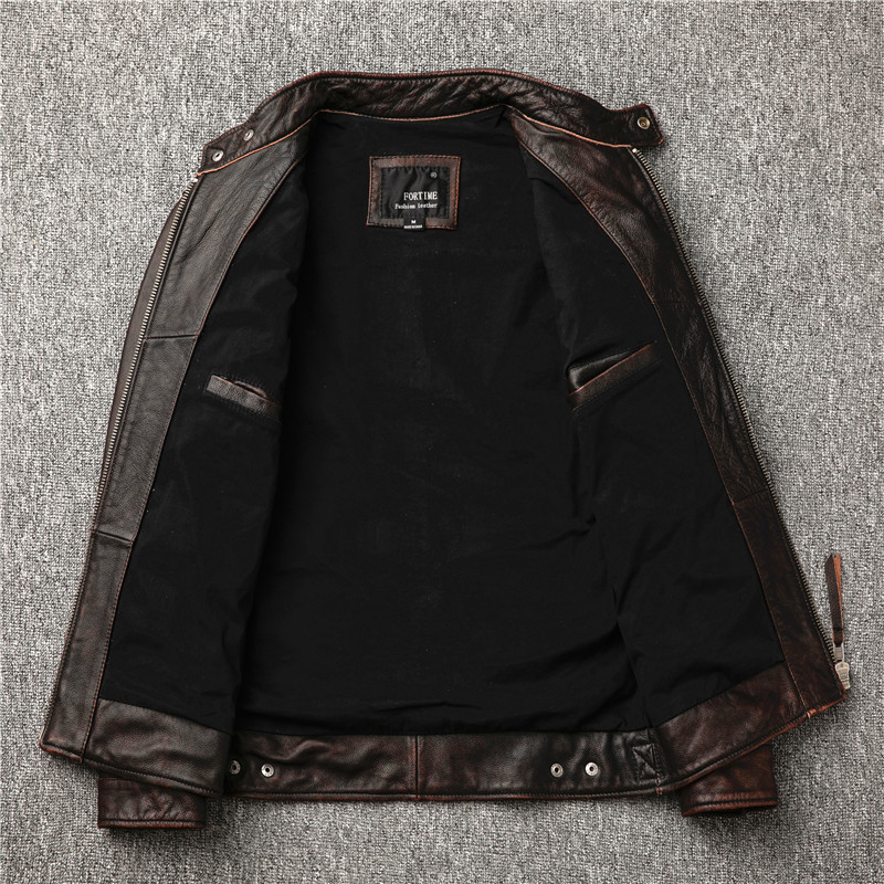 H1246309923904748922982814f1cae64h Classic motor style,vintage genuine leather Jacket,fashion men brown Leather coat,street biker coat,sales