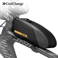 Coolchange saco de bicicleta à prova dlarge água grande capacidade portátil ciclismo frente tubo saco ao ar livre esportes bolsa pannier acessórios da bicicleta