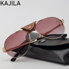 KAJILA Oval Sunglasses Women Vintage Sun Glasses For Woman Fashion 2020 Luxury Brand Leather Decoration Eyewear Lentes De Sol