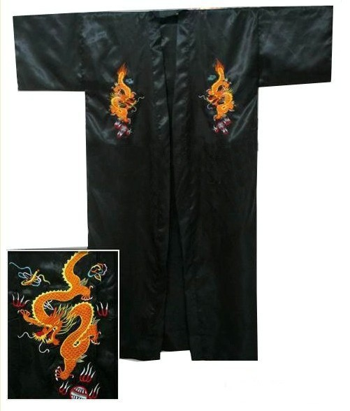 Bath-Gown Kimono Dragon Robe Satin Chinese Silk Black XXXL Embroidery Hot-Sale Men's title=
