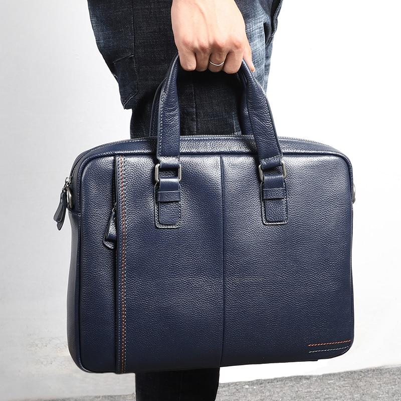 Black Blue Coffee Genuine Leather Office Men's Briefcase Portfolio Business Shoulder Messenger Bags