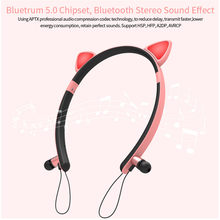 Newest Fashion Cute Cat Ear Bluetooth Sport High Quality Shape Wireless Glowing Headset Colourful Headphones Dropshipping#G1(China)