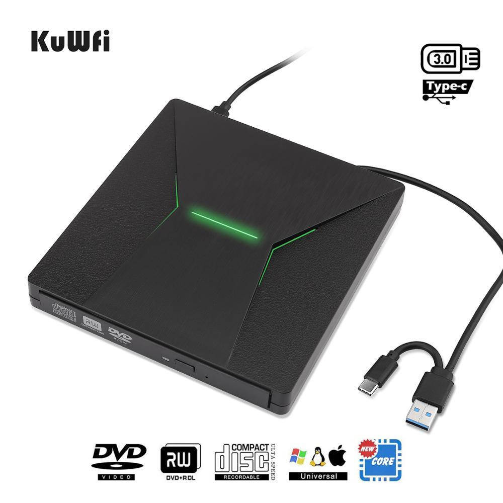 Kuwfi usb 3.0 tipo c portátil de alta velocidade dvd +/rw queimador com luz colorida dvd dirve player para macbook/janela do sistema operacional computador