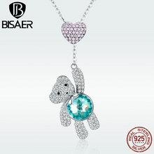 цена Bear Necklace 925 Sterling Silver Pink CZ Heart Balloon Bear Pendant Necklace for Women Animal Silver Necklce Jewelry GXN271 онлайн в 2017 году
