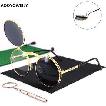 Steampunk gafas de sol redondas de Metal estilo masculino Retro Flip Circular doble gafas de sol hombre círculo gafas de sol Vintage