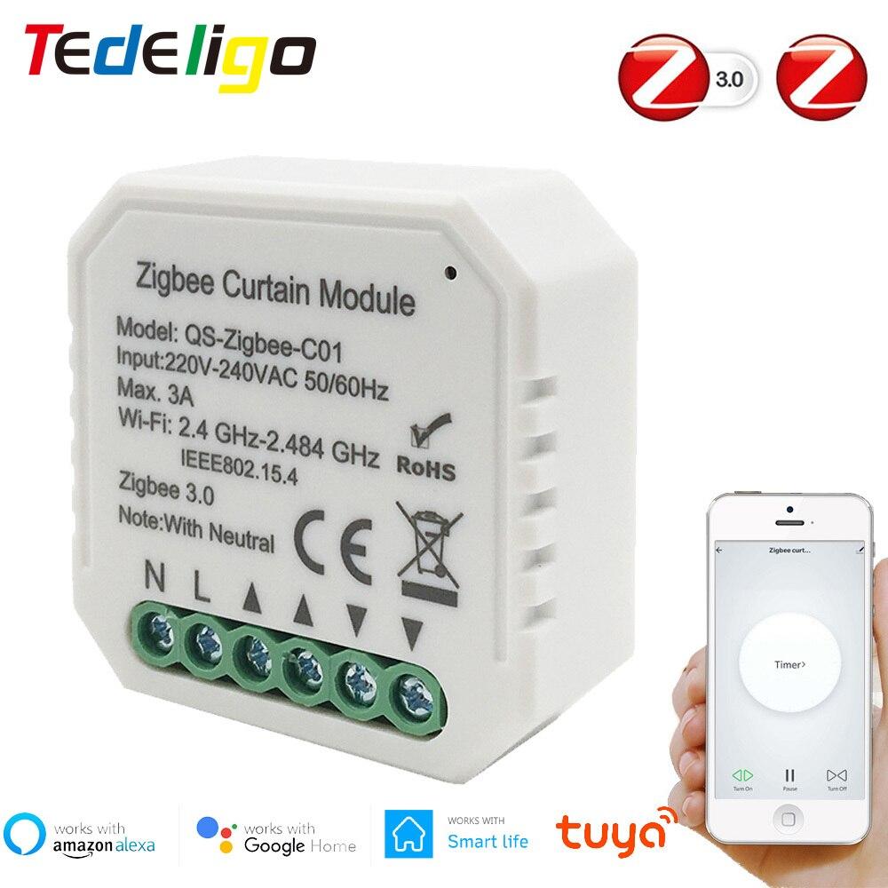 Tuya Zigbee Roller Shutter Blind Schalter Smart Leben Vorhang Schalter Für Home Automation Smart Home Voice Control Google Home Alexa