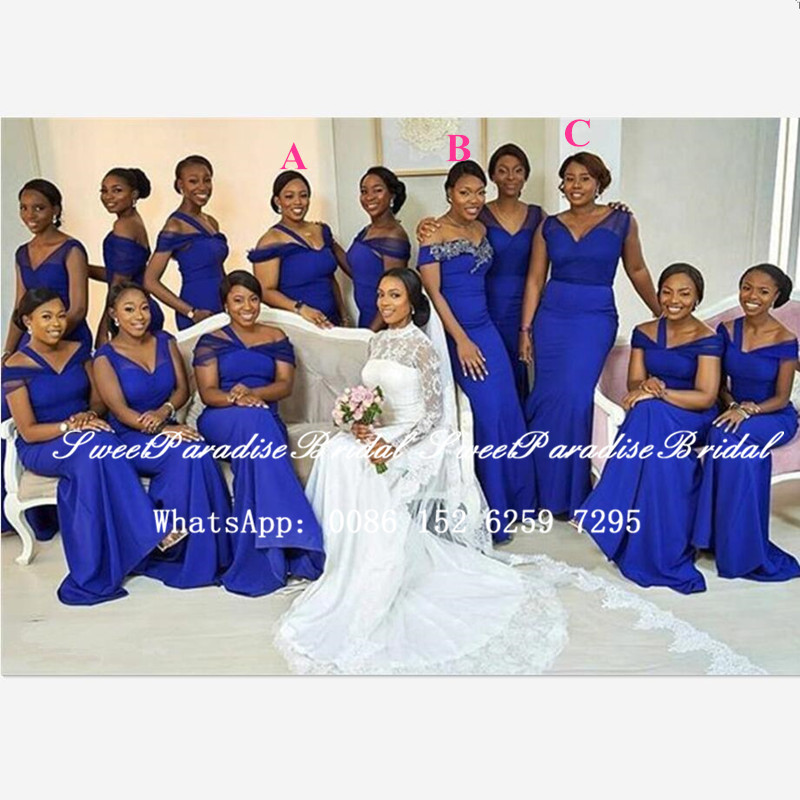 Cheap Mermaid Royal Blue Bridesmaid Dresses 2020 African Women Vestidos Customize Long Prom Dress Wedding Party Gown