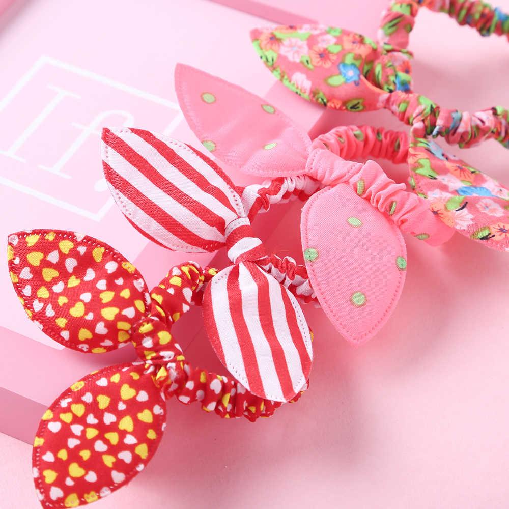 10X Rabbit Ears Hair Holders Hair Accessories Girl Women Rubber HairBand l/'p  jB