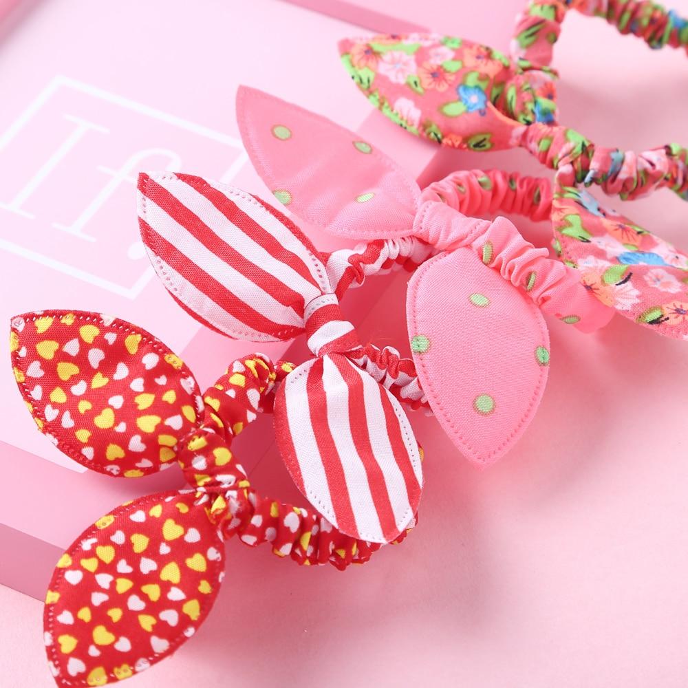 20Pcs/lot Kids Accessories Cute Polka Bow Rabbit Ears Headbands Girl Scrunchie Hair Ties Kids Ponytail Holder Hair Accessories