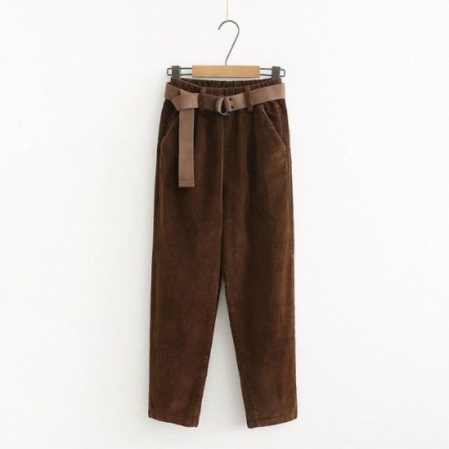 Corduroy Pants Harem Pants Autumn Winter Women Pants Elastic Waist Sashes Casual Black Trousers pantalones mujer cintura alta 2