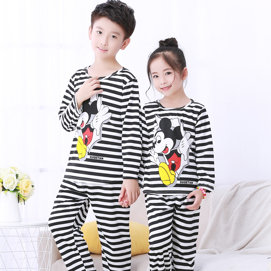 Sleepwear kids   Pajamas     set   for children spring autumn kid's home clothes boys cartoon long sleeved homewear girls cute home suit