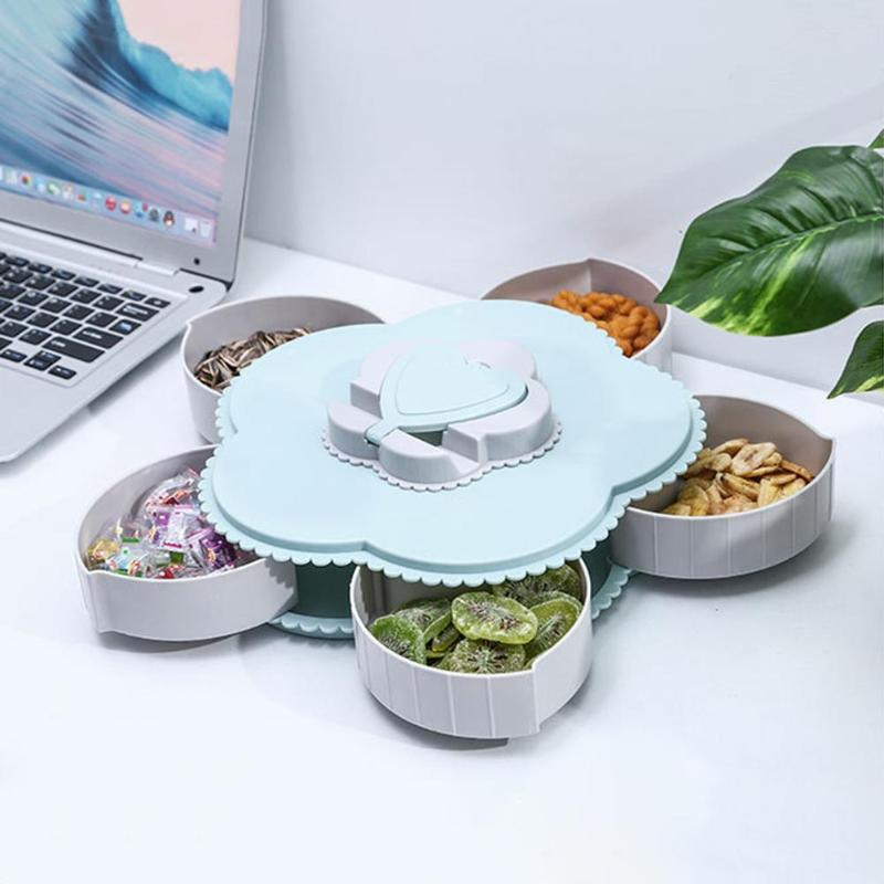 5 Grids Flower Shaped Snacks Box Multi functional Spin on Case Kitchen Tray Anti skid Creative Storage Accessories|Bottles Jars & Boxes| |  - title=