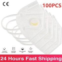 100 pièces Kn95 FFP3 masque avec Valve réutilisable poussière respirateur masques Anti-poussière emballage individuel masques de protection Mascarillas