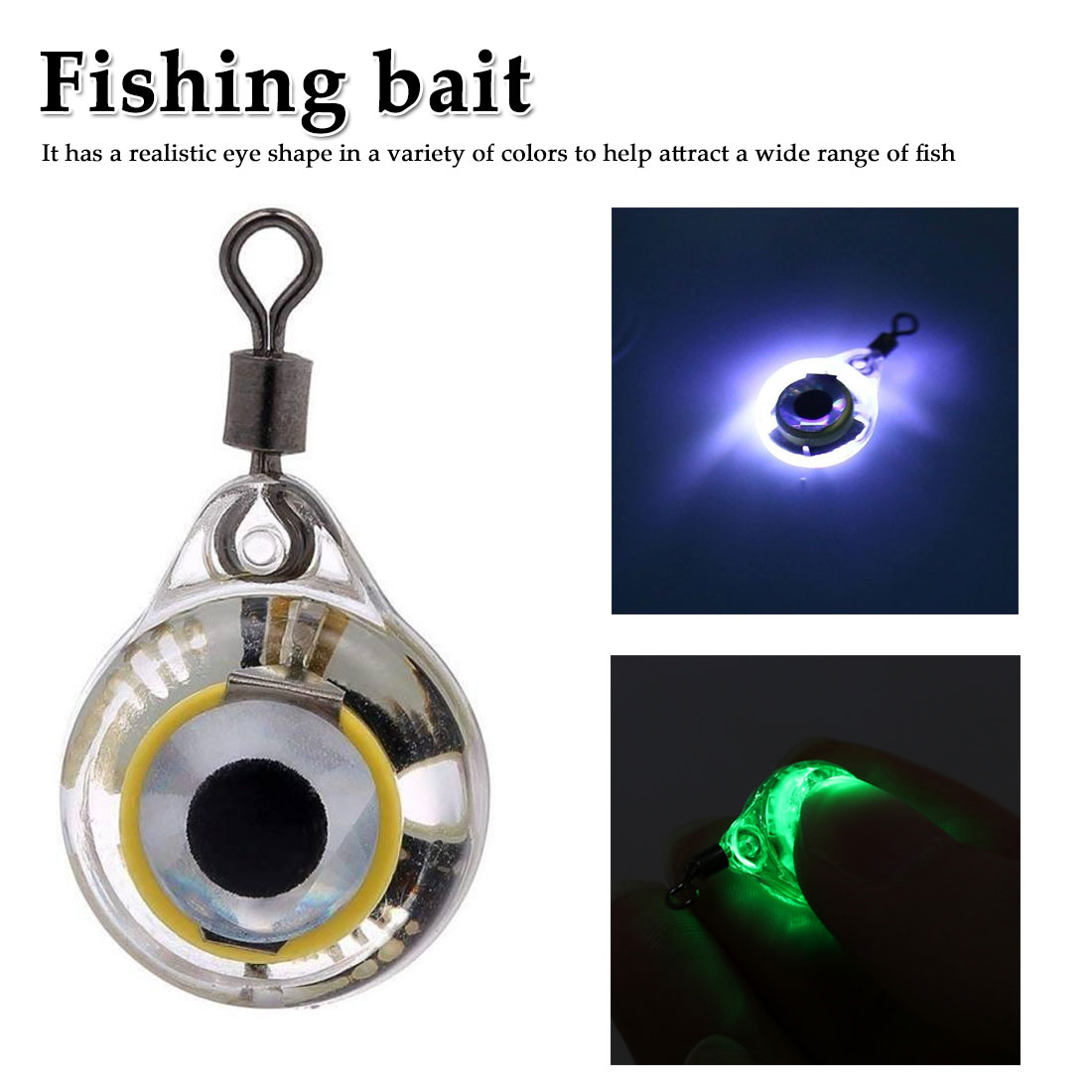 1PCS LED Fishing Light Deep Drop Underwater Round Shape Squid Strobe Night Fluorescent Glow Eye Shape Bait