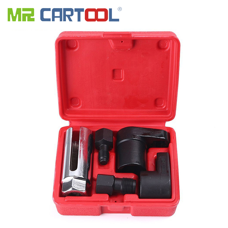 MR CARTOOL 5pcs Oxygen Sensor Wrench Kit Thread Chaser Tool Fit For Auto O2 Socket Removal Install Offset Vacuum Sensor Socket