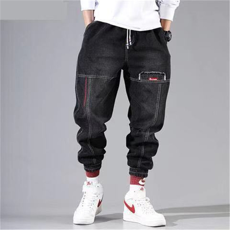 Special Wholesale New Black Denim Overalls Men Tide Brand Loose Student Sports Beam Feet Harem Pants Trend Men's Feet Pants