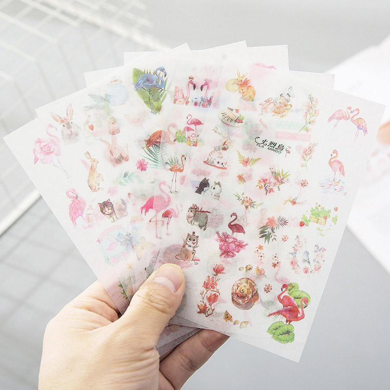 6Sheets Kawaii Stationery Cute Flamingo Stickers Stickers Cat Sticker For Kids DIY Scrapbooking Diary Albums Supplies