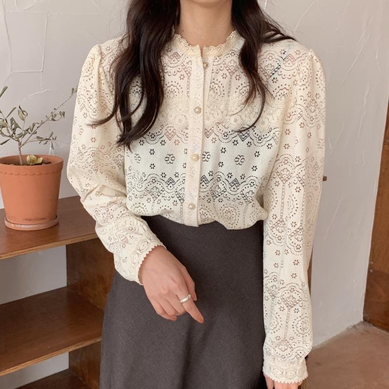 H1247527cbaf243b1814dad22bdc9b4e0p - Spring / Autumn O-Neck Long Sleeves Cotton Hollow Out Lace Blouse