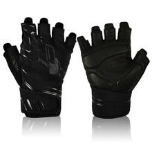 Guantes de cuero para levantamiento de pesas para hombre y mujer, antideslizantes, soporte para muñeca, guantes de gimnasio para entrenamiento