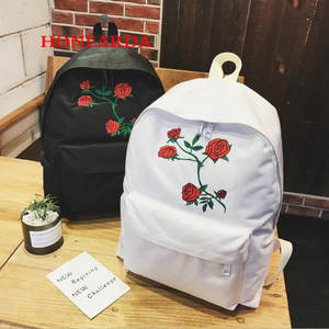 Embroidery Backpack Women Canvas Double-Shoulder-Bag White Students Rose 100pcs Harajuku