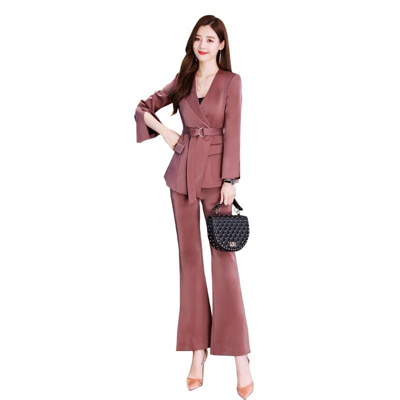 Temperament professional women's suit Autumn new slim waist long sleeve ladies jacket Office casual trouser suit high quality 38