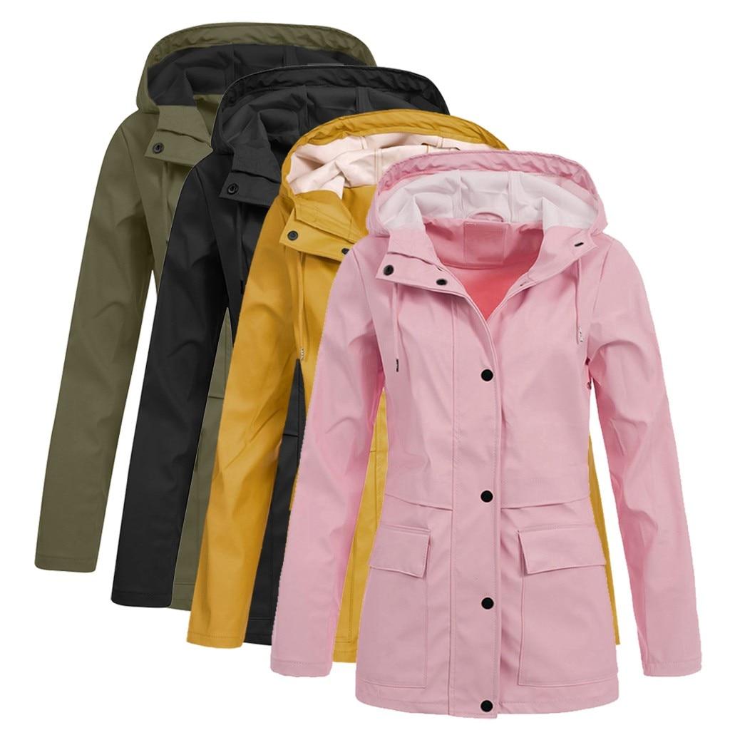 Женская одноцветная куртка для дождливой погоды размера плюс, водонепроницаемая куртка с капюшоном, женское ветрозащитное пальто, длинное ...