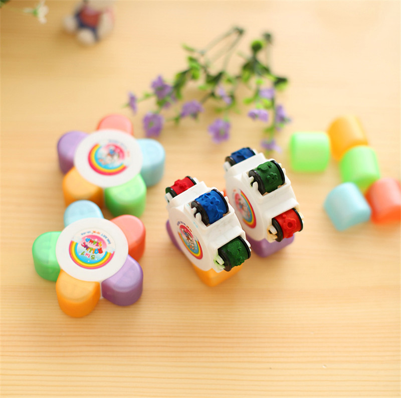 Kids Flower Scroll Stamper Drawing Toy Children Custom Plastic Rubber Self Inking Stamper Painting Toys Child Stamps Toys