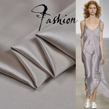 Silver color heavier silk and wool satin blended fabric smooth silk blended fabric,SFF184