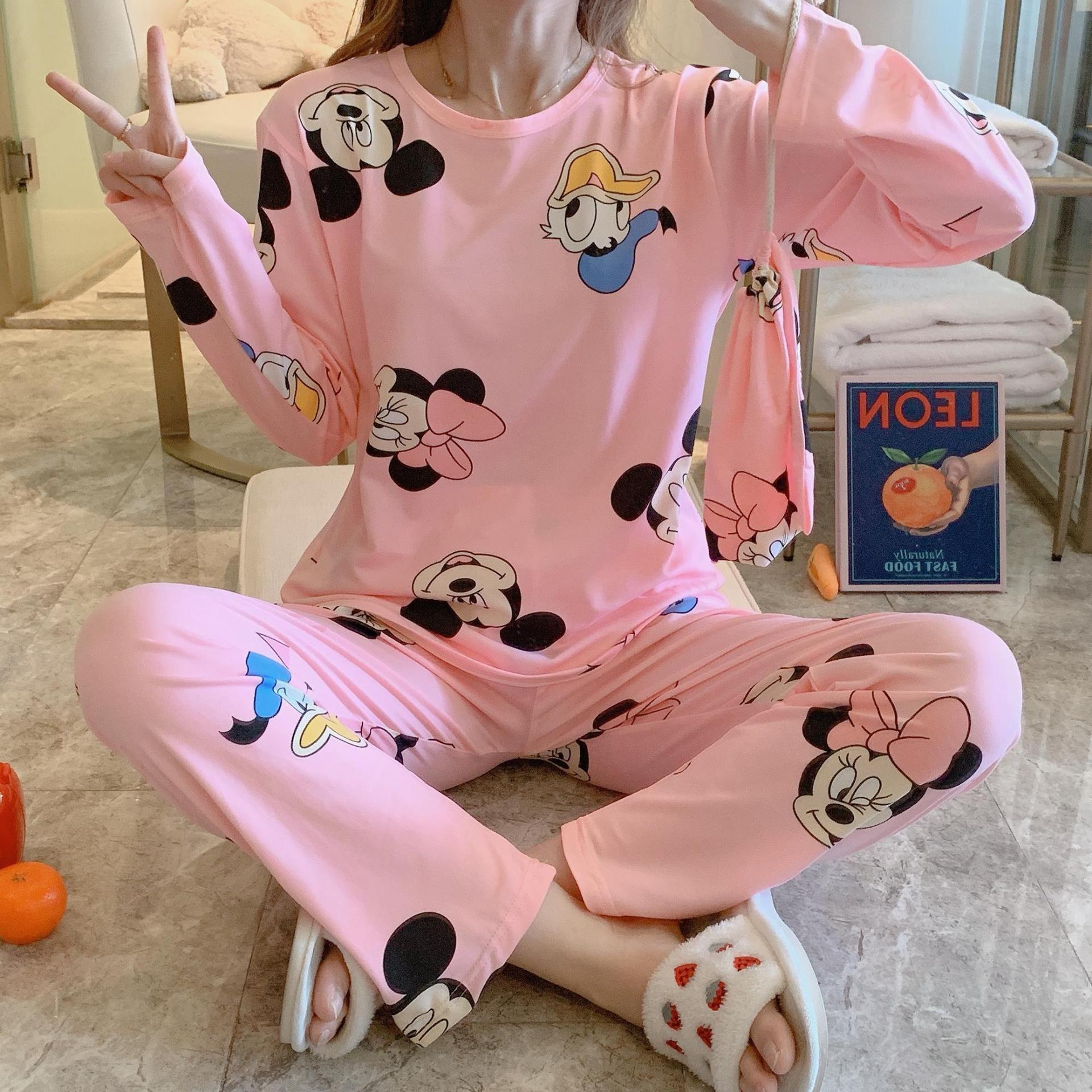 Low Price Cloth Bag Pajamas Women's Spring New Style Cartoon Mickey Storage Bag Pajamas Three-piece Set Southeast Asia