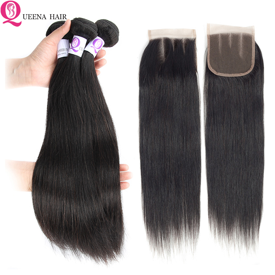Queena-Fashion-Peruvian-Hair-Bundles-with-Closure-Straight-Hair-Bundles-with-Closure-Non-Remy-Human-Hair