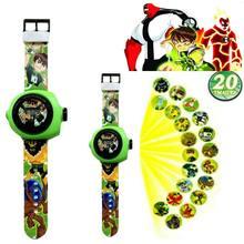 1 pçs dos desenhos animados relógios digitais omnitrix alien force boy 10 figuras de ação quatro braços heatblast estilo projetor imagens presente do miúdo brinquedo
