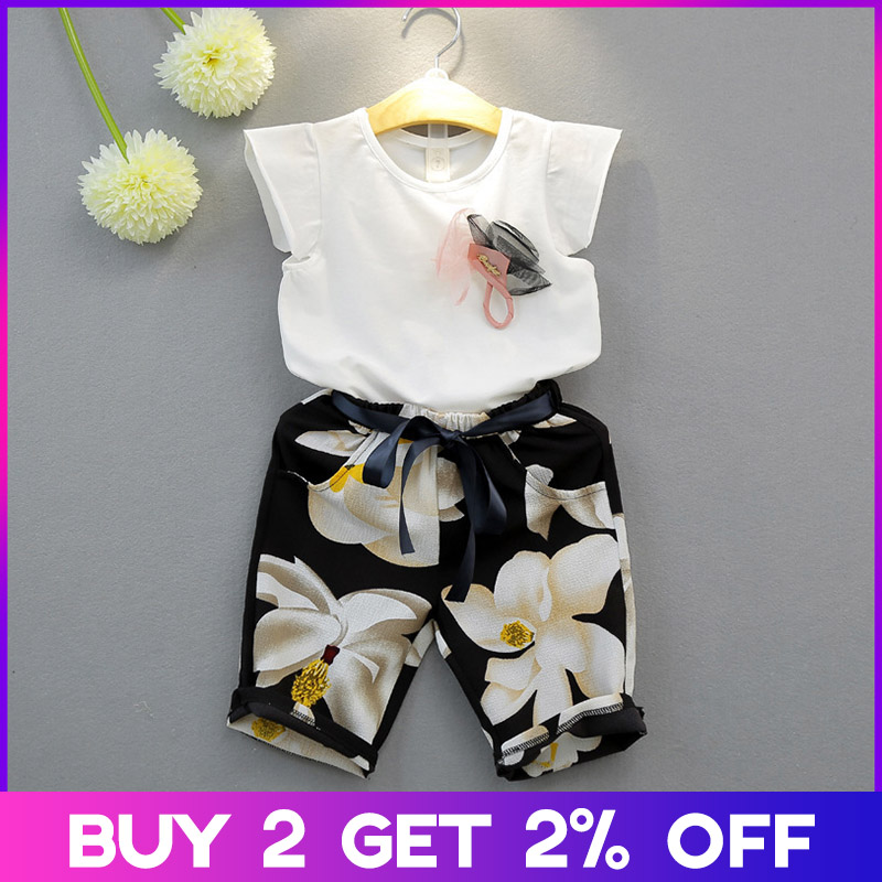Menoea Girls Clothing Sets New Girls Clothes Suits Sleeveless Bow Floral Clothes Long Pants Suits For 3-7Y Kids Clothing Sets