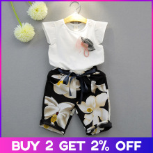 Menoea Girls Clothing Sets New Girls Clothes Suits Sleeveless Bow floral Clothes Long Pants Suits for 3-7Y Kids Clothing Sets недорого