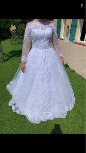 Image 5 - Vestido De Noiva Princess Wedding Dresses 2020 Garden Off Shoulder Sheer Long Sleeve Beaded Arabic Robe De Mariage Bridal Gown