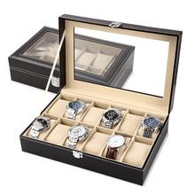 Znakomity zegarek ze skóry PU organizator z pojemnikiem zegarki do przechowywania pudełka prezentowe na biżuterię wyświetlacz wielu siatek Drop Shipping tanie tanio Pudełka do zegarków Moda casual Nowy bez tagów HHBH Rectangle 33cm Skóra 20cm