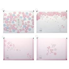 Japanese Cherry Girl Cartoon Print File Bag Plastic Zippered Folder Envelopes Clear Poly Pouch Envelopes File Document Holder стоимость