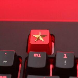 Image 5 - Keycap 1 Pcs Communistische Partij Of Pentagram Gepersonaliseerde Reliëf Zink Aluminium Metal Keycaps Mechanische Toetsenbord R4 Hoogte Knop