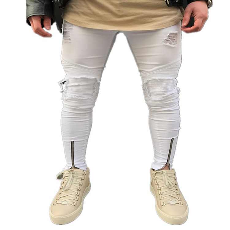 Origional Popular Brand Spring Summer Trousers Men White Slim Fit Pants With Holes Jeans Youth Punk Locomotive Pants