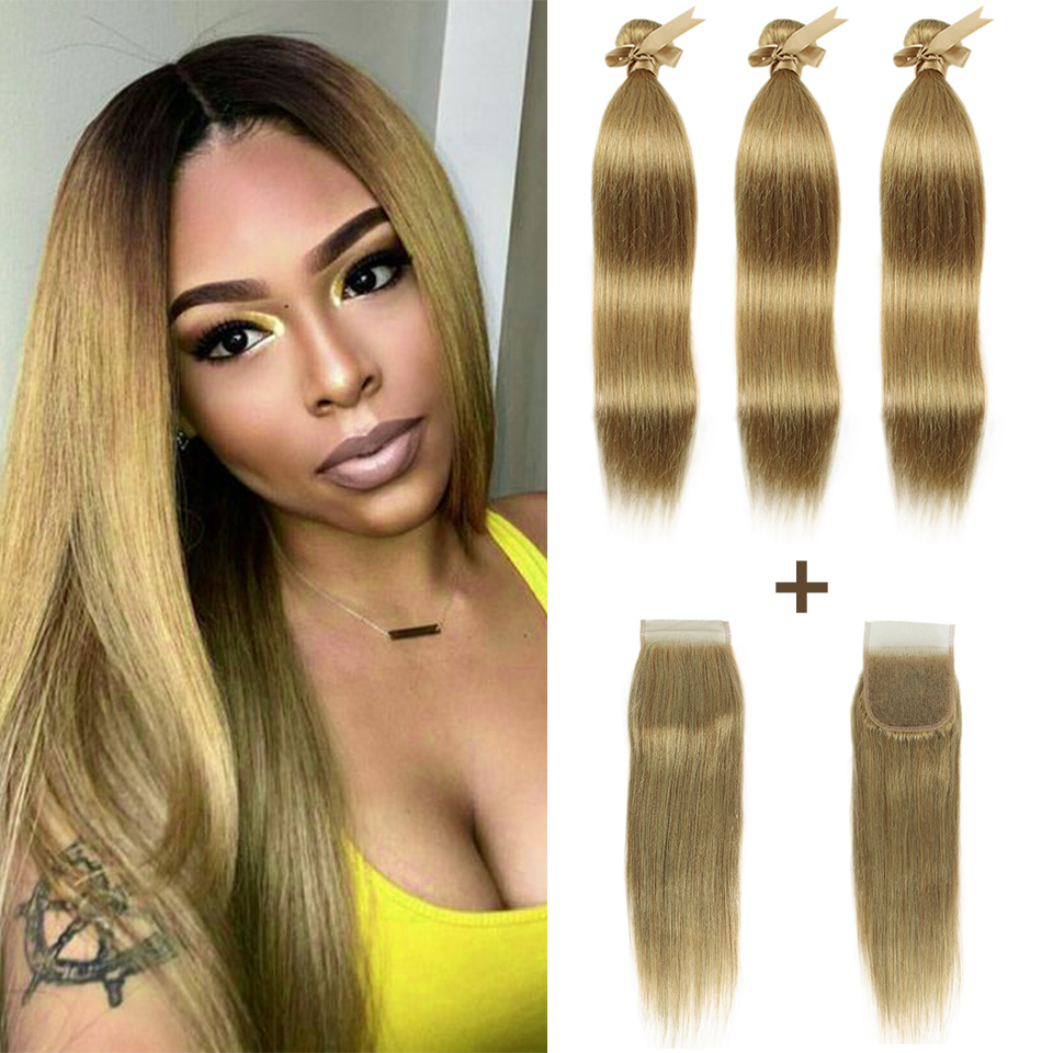 Remy Forte Straight Hair Bundles With Closure Blonde 30 Bundles With Closure Brazilian Hair Weave Bundles 3/4 Hair Bundles