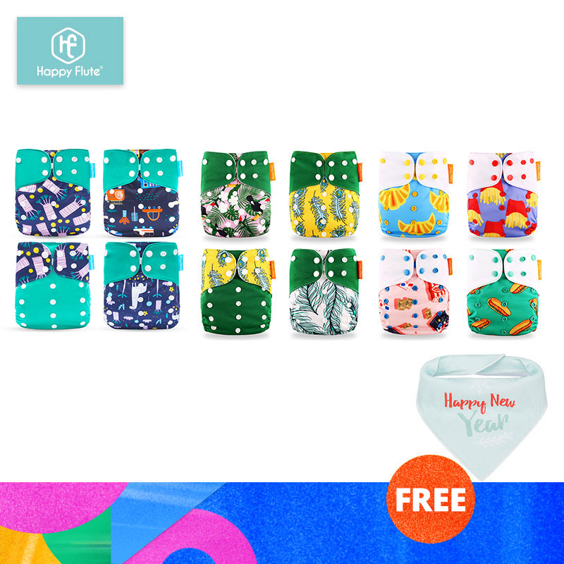 HappyFlute 12 Diapers+12 Inserts Baby Cloth Diapers One Size Adjustable Washable Reusable Cloth Nappy For Baby Girls And Boys