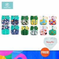HappyFlute 12 pañales + 12 insertos pañales de tela de bebé un tamaño ajustable lavable pañal reutilizable ropa para niñas y niños