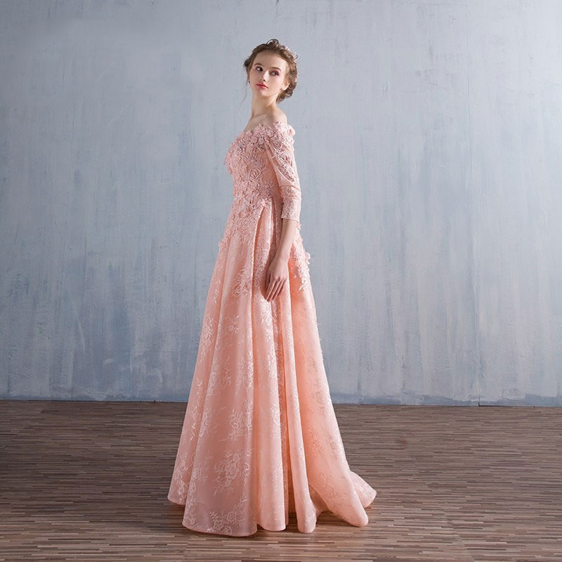 Tanpell Elegant Evening Dress Off the Shoulder Half Sleeves Beading Appliques Lace Floor Length A Line Long Evening Dress in Evening Dresses from Weddings Events