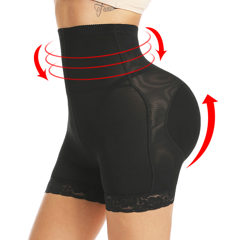 Women High Waist Lace Butt Lifter Body Shaper Tummy Control Panties Boyshort ASS Pad Shorts Hip Enhancer Shapewear