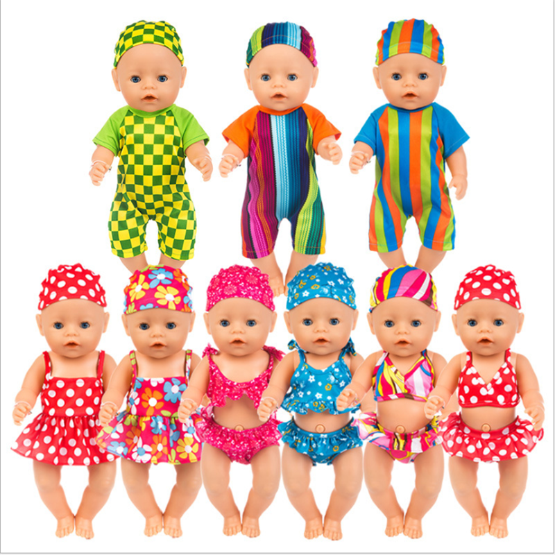 Born New Baby Doll Clothes Fit 18 Inch 43cm Doll Red Lips Of Flaming Tetrafolium Swimsuit Accessories For Baby Birthday Gift