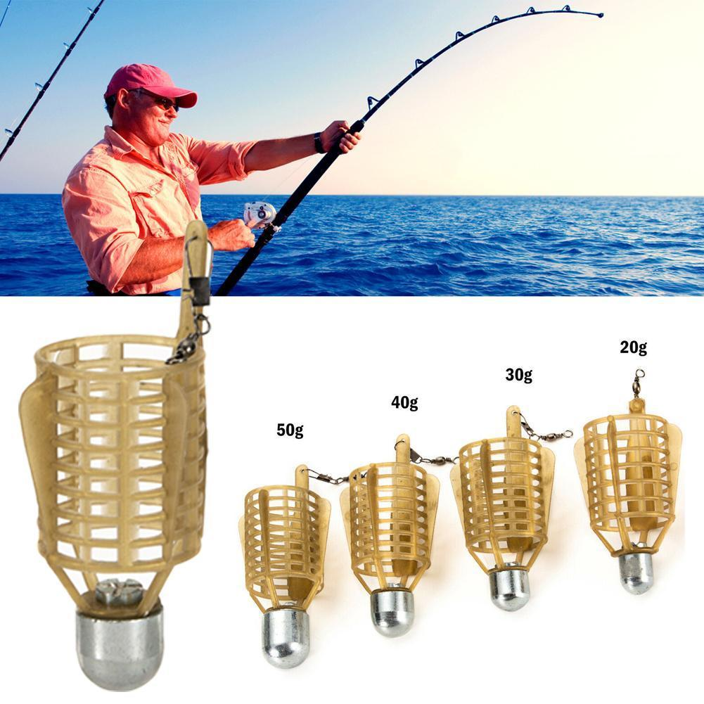 20g/30g/40g/50g Boat Carp Fishing Bait Feeder Cages Basket Fishing Lure Sinker Lure Lead Holder Plastic Cage Cage Trap Fish O9I1