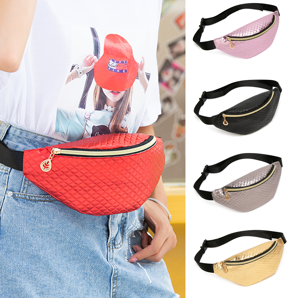 Funny Women PU Leather Laser Waist Pouch Waterproof Sports Running Belt Bag Bum Pack