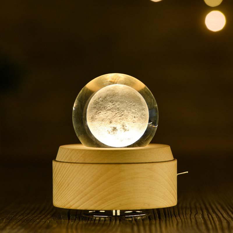 LED Moon Crystal Ball Night Light Music Box Wooden Luminous Music Box Hand Crank Rotary Mechanism Innovative For Birthday Gift